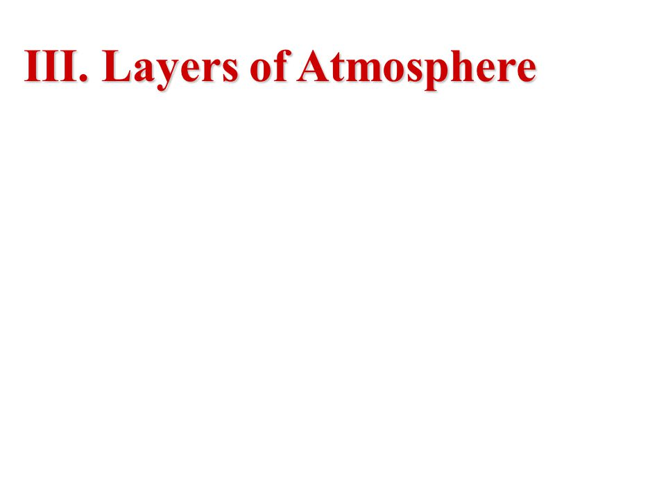 III. Layers of Atmosphere