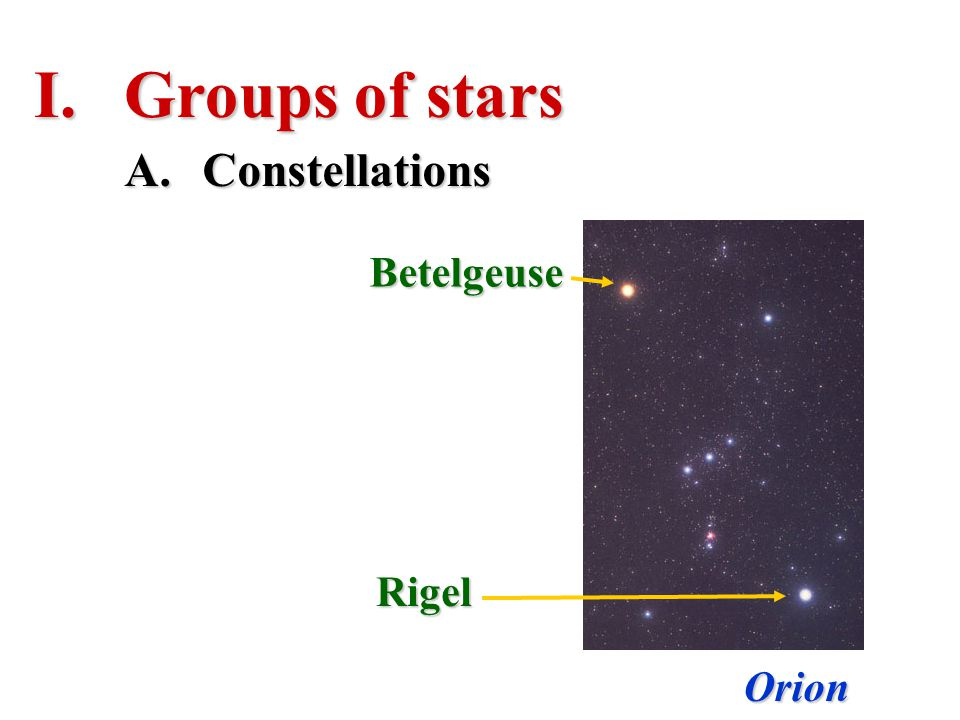 I.Groups of stars Orion A.Constellations Betelgeuse Rigel