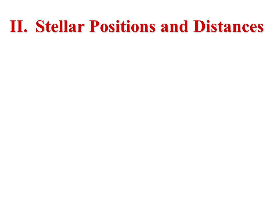 II.Stellar Positions and Distances