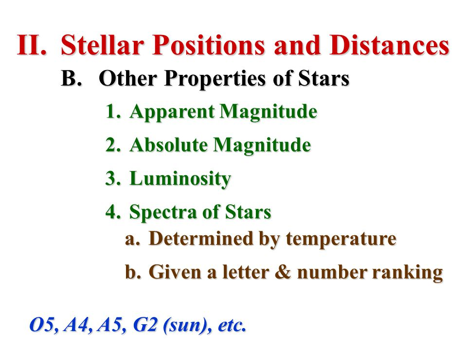 II.Stellar Positions and Distances B.Other Properties of Stars 1.Apparent Magnitude 2.Absolute Magnitude 3.Luminosity 4.Spectra of Stars O5, A4, A5, G