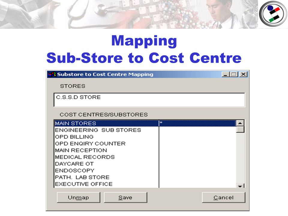 Mapping Sub-Store to Cost Centre