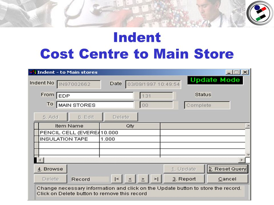 Indent Cost Centre to Main Store