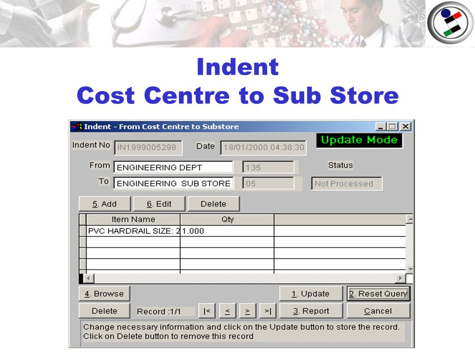 Indent Cost Centre to Sub Store