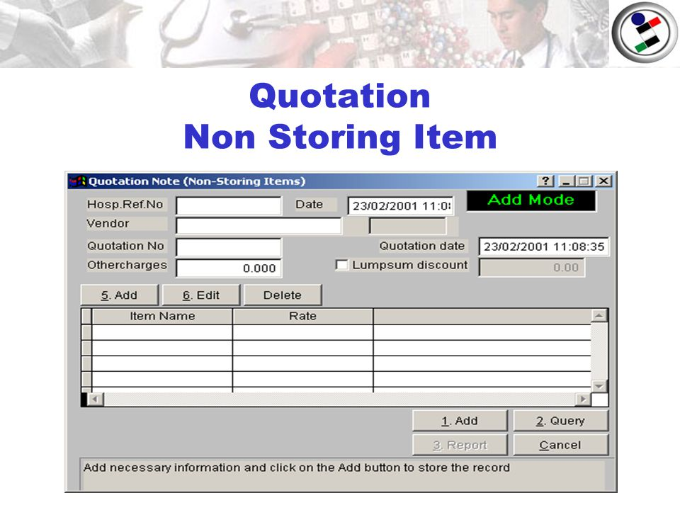 Quotation Non Storing Item
