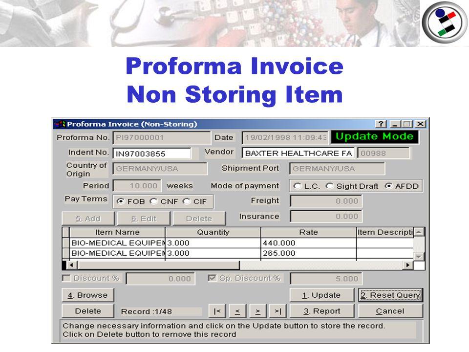Proforma Invoice Non Storing Item