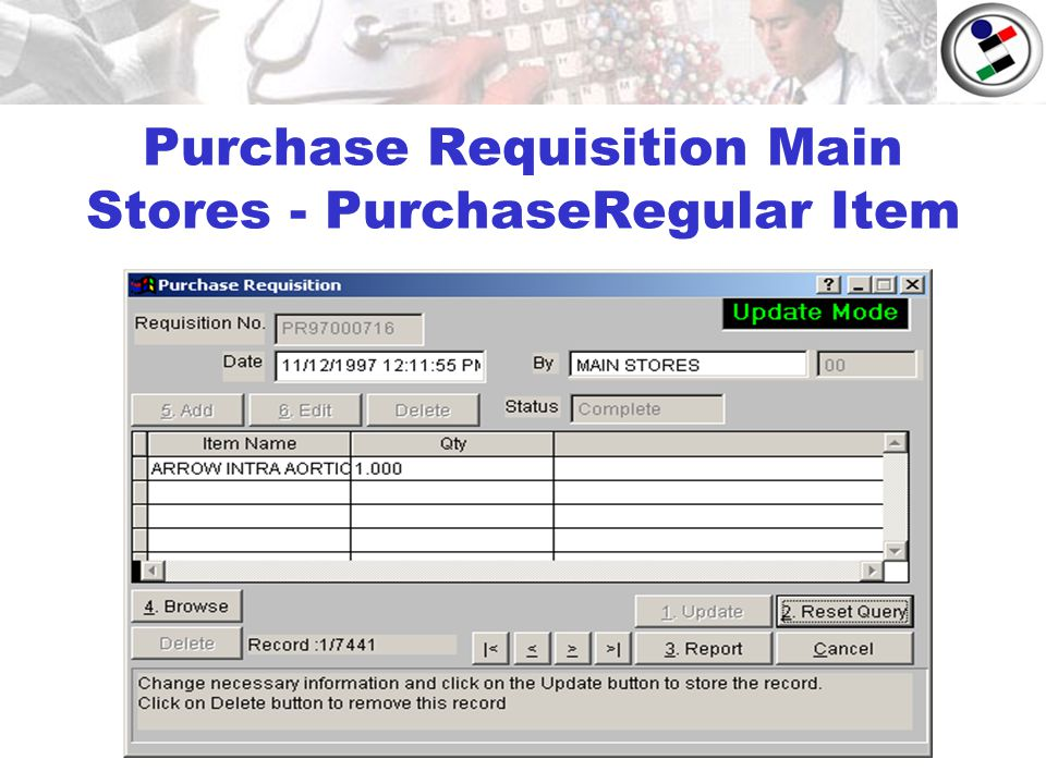 Purchase Requisition Main Stores - PurchaseRegular Item