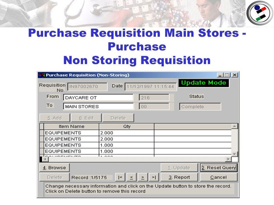 Purchase Requisition Main Stores - Purchase Non Storing Requisition