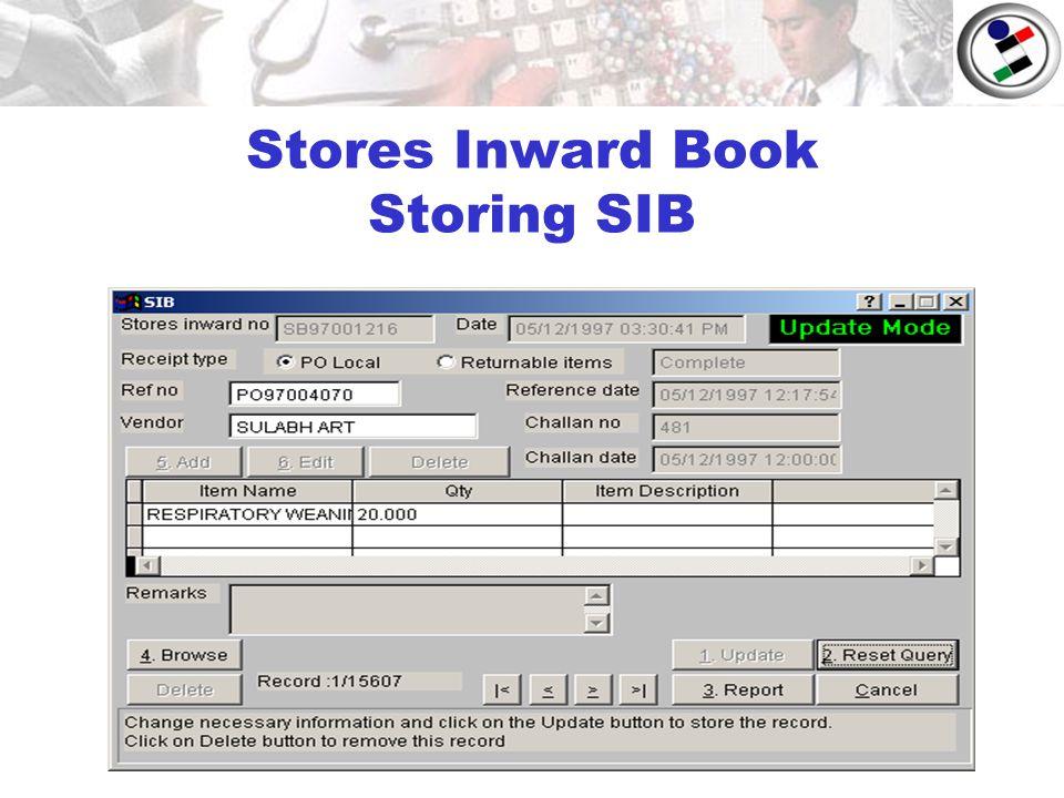 Stores Inward Book Storing SIB