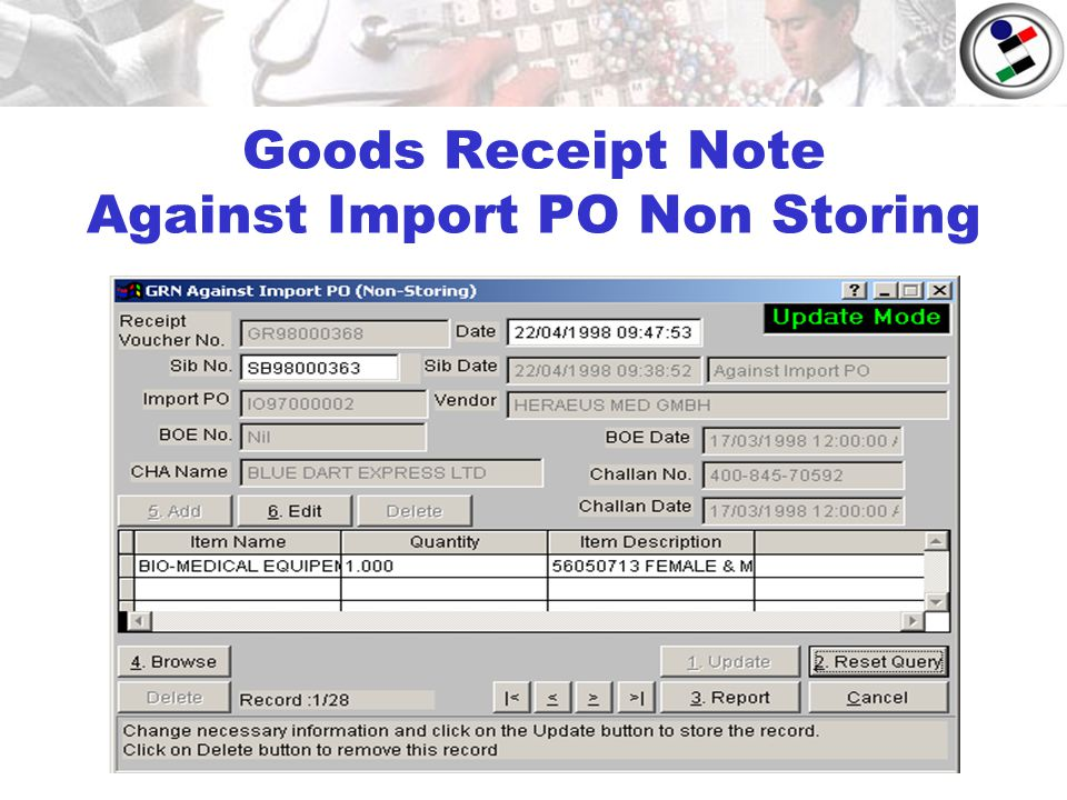 Goods Receipt Note Against Import PO Non Storing