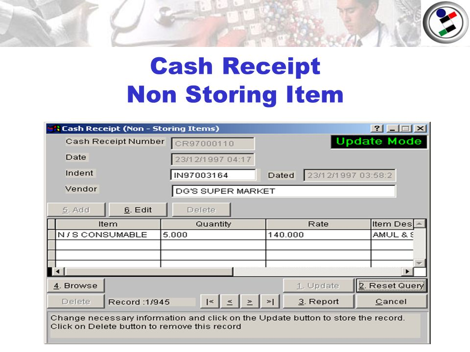 Cash Receipt Non Storing Item