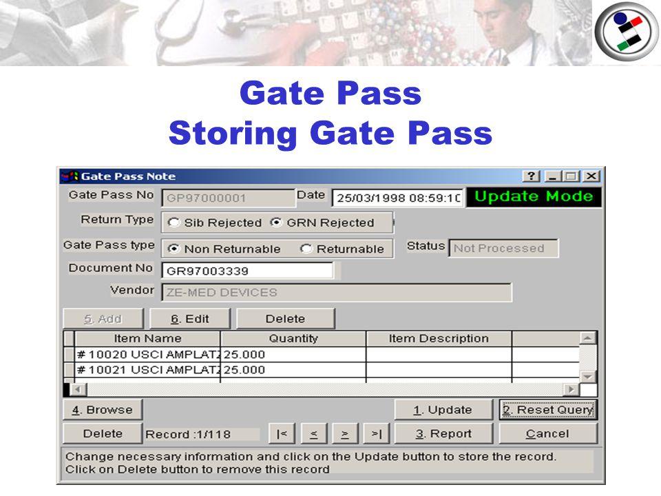 Gate Pass Storing Gate Pass
