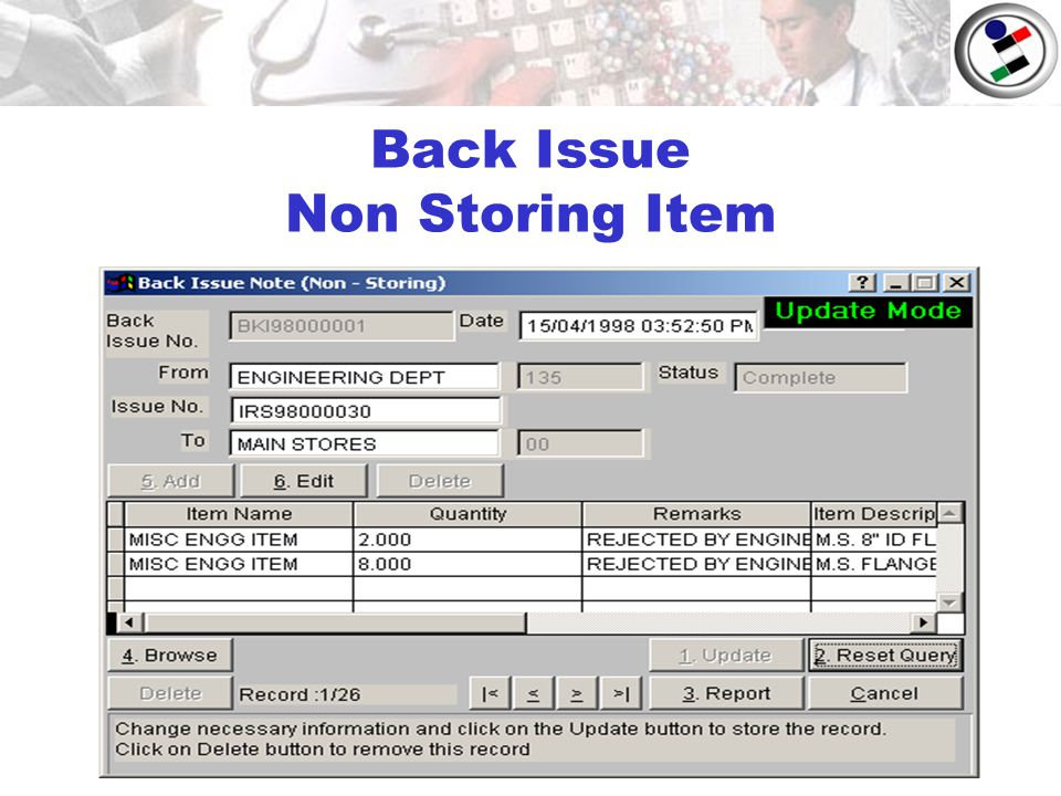 Back Issue Non Storing Item