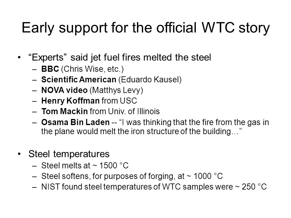 WTC's design engineer –Tower's structural components were designed by John Skilling (Leslie Robertson worked for him) –Skilling had this to say in 1993 when asked if he considered plane crashes in his design.