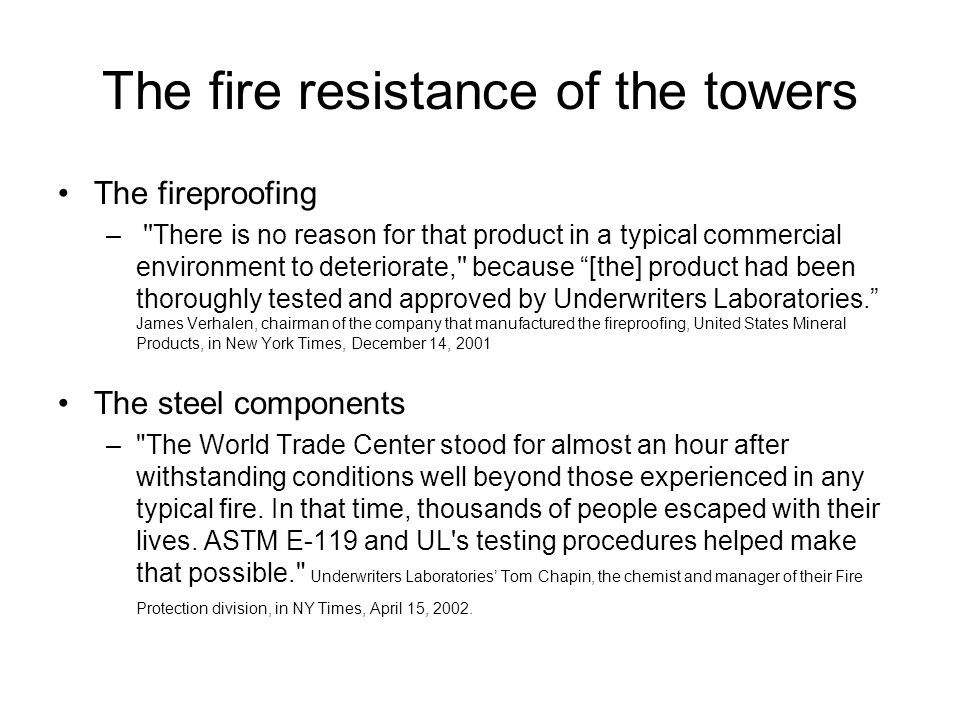 Official investigations into the collapse of the WTC buildings ASCE FEMA (floor pancake theory) –Turned ASCE investigation into an assessment –Report released May 2002 Silverstein / Weidlinger (columns only) –report released October 2002 NIST –Final draft 10/04…Final, final draft 6/05 –First report 9/05…Responses to FAQs 8/06