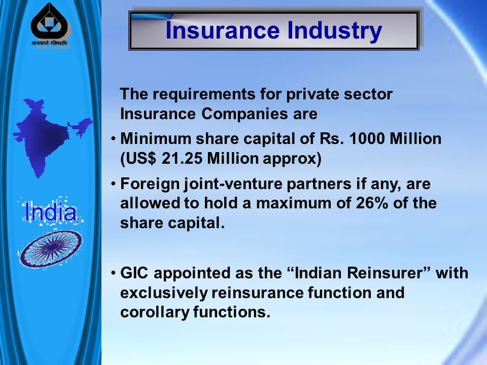 The requirements for private sector Insurance Companies are Minimum share capital of Rs.