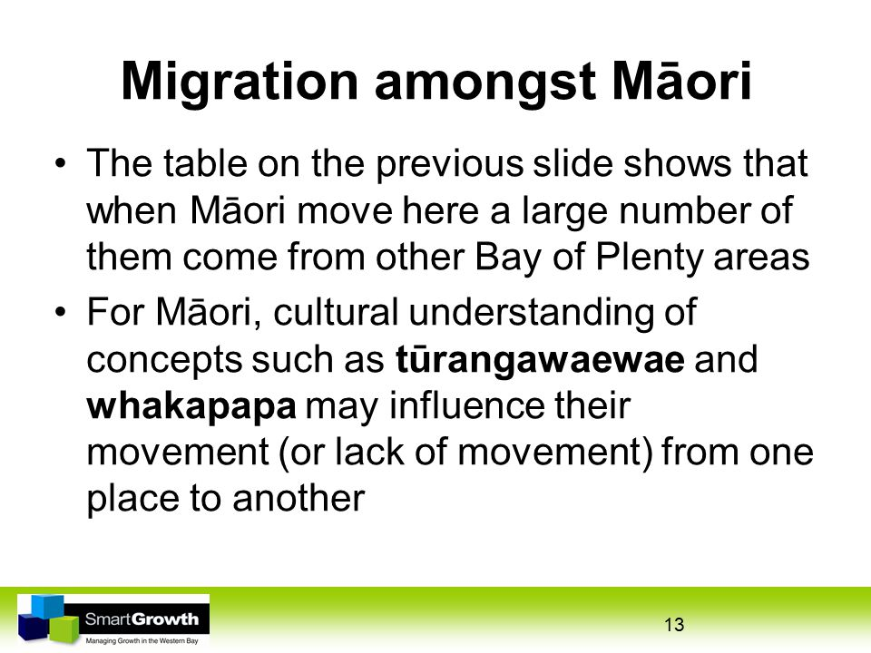 Migration amongst Māori The table on the previous slide shows that when Māori move here a large number of them come from other Bay of Plenty areas For Māori, cultural understanding of concepts such as tūrangawaewae and whakapapa may influence their movement (or lack of movement) from one place to another 13