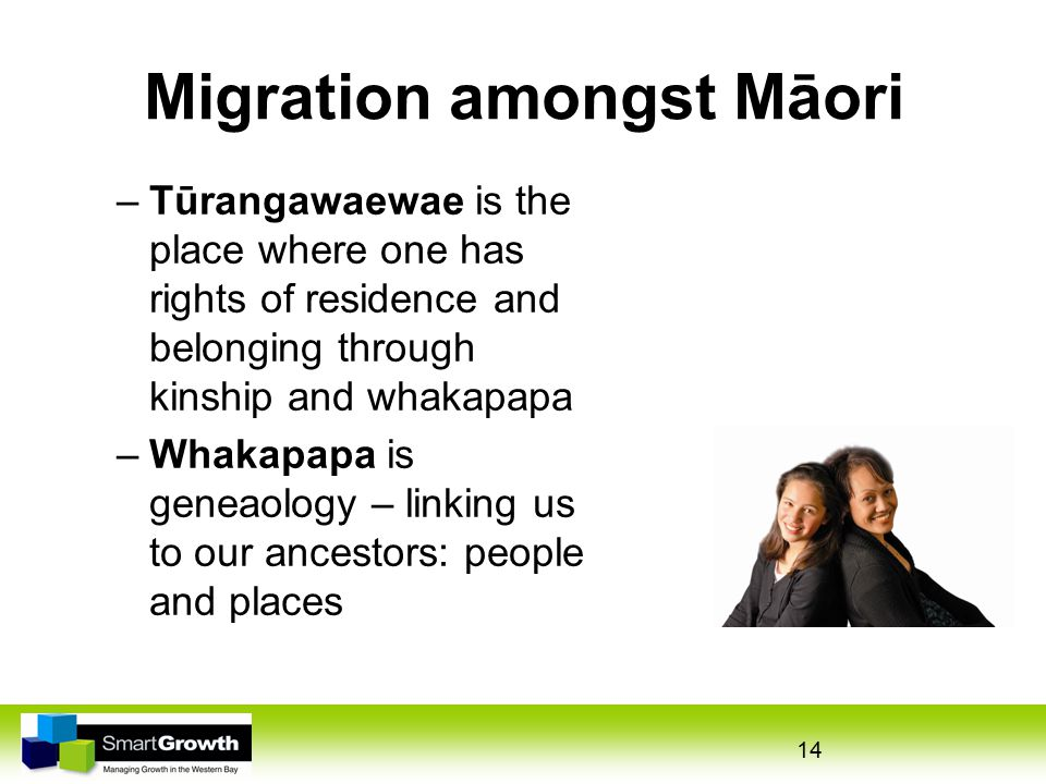 Migration amongst Māori –Tūrangawaewae is the place where one has rights of residence and belonging through kinship and whakapapa –Whakapapa is geneaology – linking us to our ancestors: people and places 14