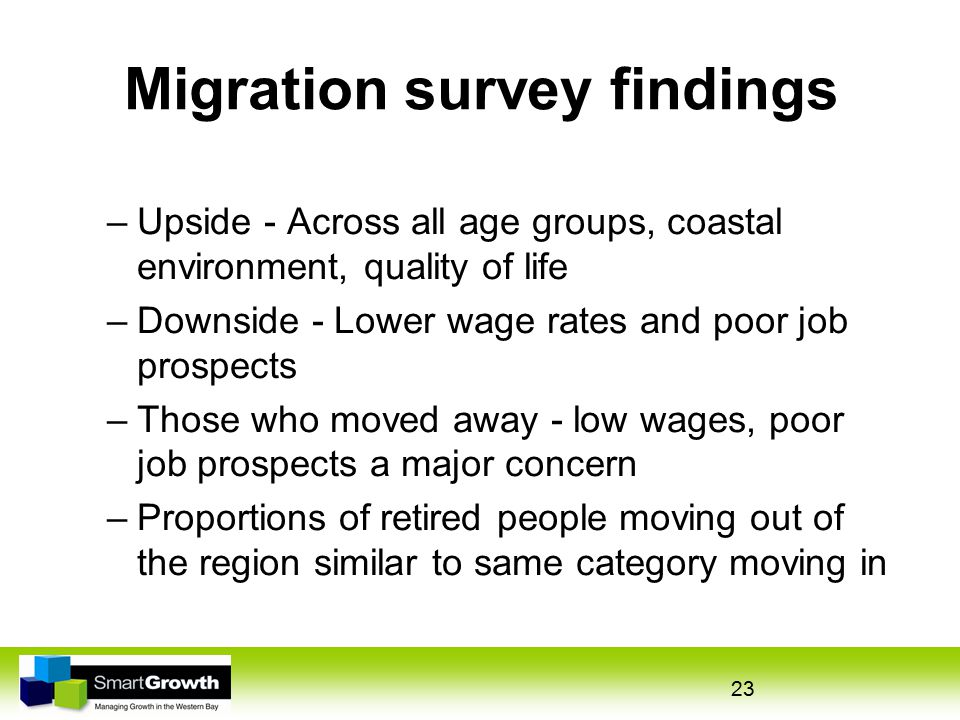 23 Migration survey findings –Upside - Across all age groups, coastal environment, quality of life –Downside - Lower wage rates and poor job prospects –Those who moved away - low wages, poor job prospects a major concern –Proportions of retired people moving out of the region similar to same category moving in