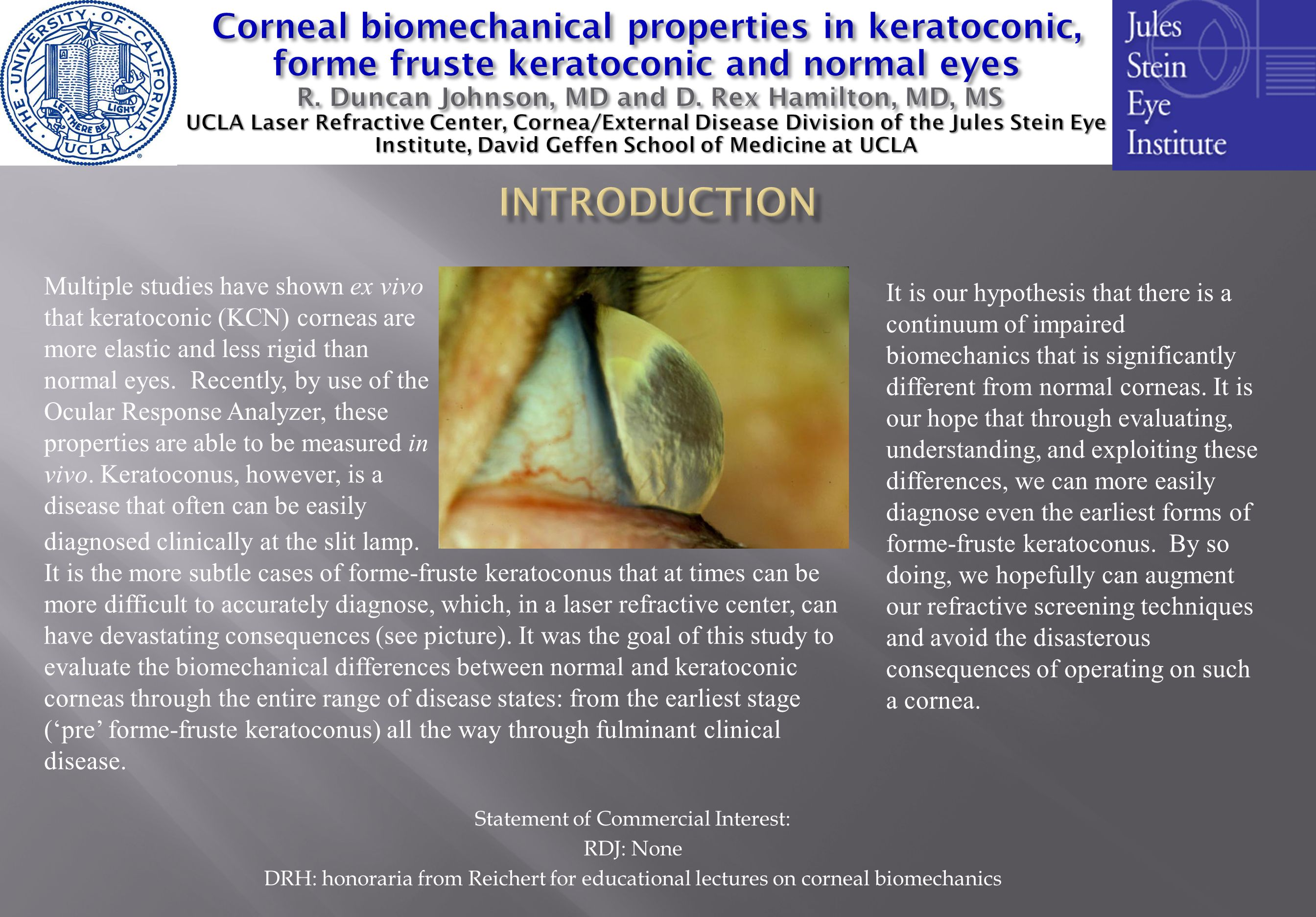Statement of Commercial Interest: RDJ: None DRH: honoraria from Reichert for educational lectures on corneal biomechanics Multiple studies have shown