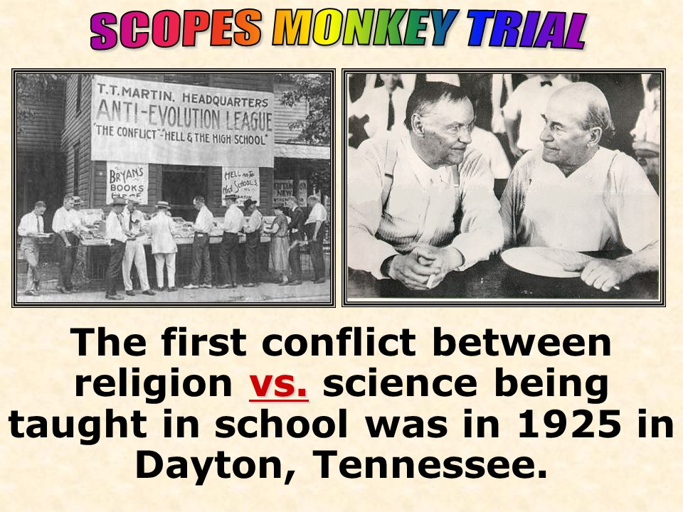 1925 vs. The first conflict between religion vs.