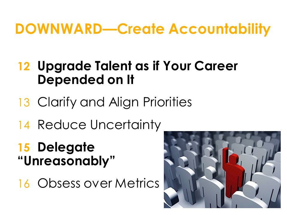 DOWNWARD—Create Accountability 12 Upgrade Talent as if Your Career Depended on It 13 Clarify and Align Priorities 14 Reduce Uncertainty 15 Delegate Unreasonably 16 Obsess over Metrics