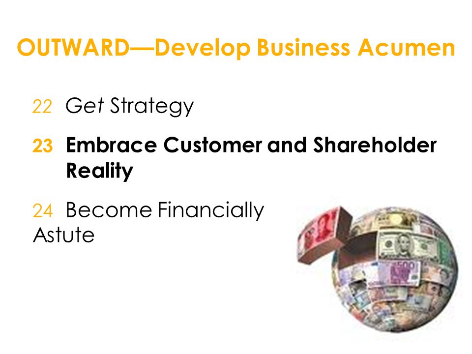 OUTWARD—Develop Business Acumen 22 Get Strategy 23 Embrace Customer and Shareholder Reality 24 Become Financially Astute