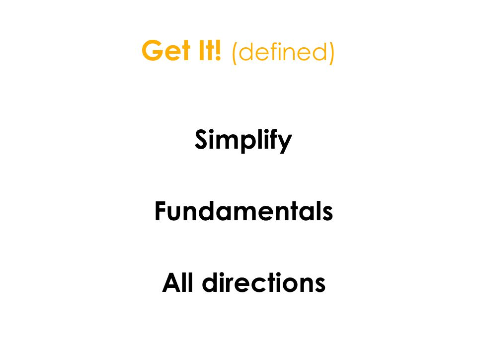 Get It! (defined) Simplify Fundamentals All directions