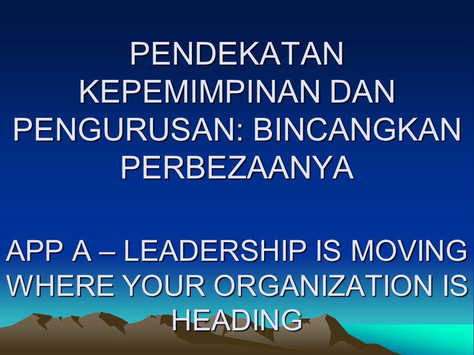 PENDEKATAN KEPEMIMPINAN DAN PENGURUSAN: BINCANGKAN PERBEZAANYA APP A – LEADERSHIP IS MOVING WHERE YOUR ORGANIZATION IS HEADING