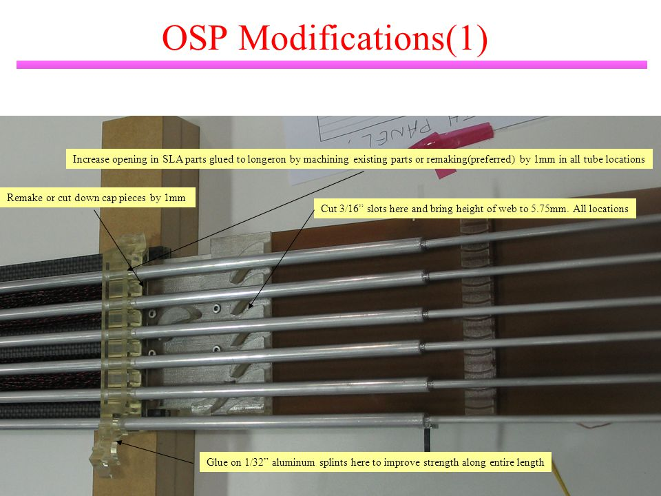 M. Gilchriese 10 OSP Modifications(1) Increase opening in SLA parts glued to longeron by machining existing parts or remaking(preferred) by 1mm in all