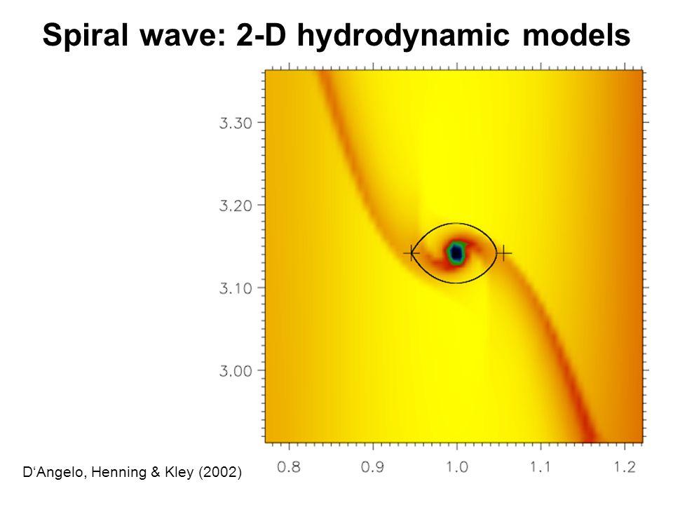 Spiral wave: 2-D hydrodynamic models D'Angelo, Henning & Kley (2002)