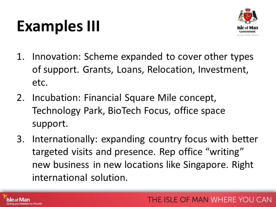 Examples III 1.Innovation: Scheme expanded to cover other types of support.