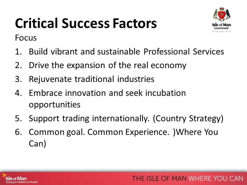 Critical Success Factors Focus 1.Build vibrant and sustainable Professional Services 2.Drive the expansion of the real economy 3.Rejuvenate traditional industries 4.Embrace innovation and seek incubation opportunities 5.Support trading internationally.
