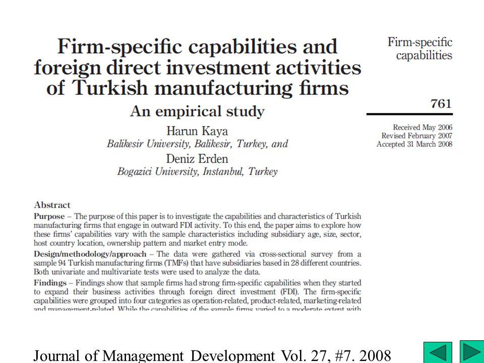 OLI in Turkey Journal of Management Development Vol. 27, #7. 2008