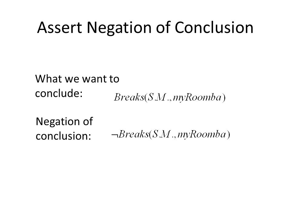 Assert Negation of Conclusion What we want to conclude: Negation of conclusion: