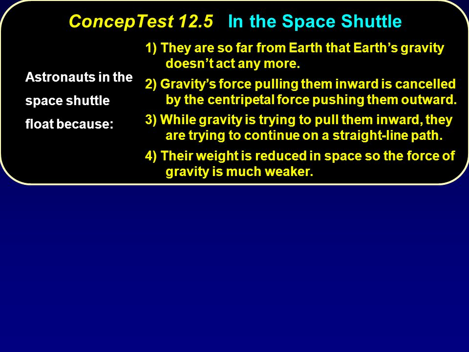 ConcepTest 12.5In the Space Shuttle ConcepTest 12.5 In the Space Shuttle Astronauts in the space shuttle float because: 1) They are so far from Earth