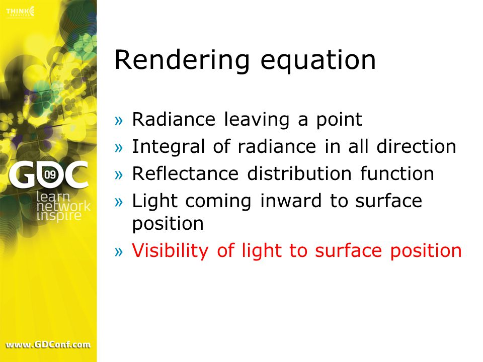 Rendering equation »Radiance leaving a point »Integral of radiance in all direction »Reflectance distribution function »Light coming inward to surface position »Visibility of light to surface position