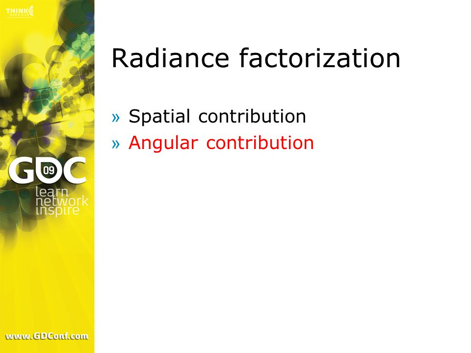 Radiance factorization »Spatial contribution »Angular contribution