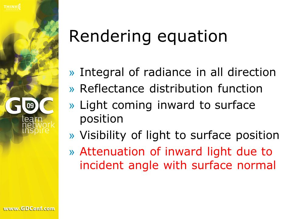 Rendering equation »Integral of radiance in all direction »Reflectance distribution function »Light coming inward to surface position »Visibility of light to surface position »Attenuation of inward light due to incident angle with surface normal