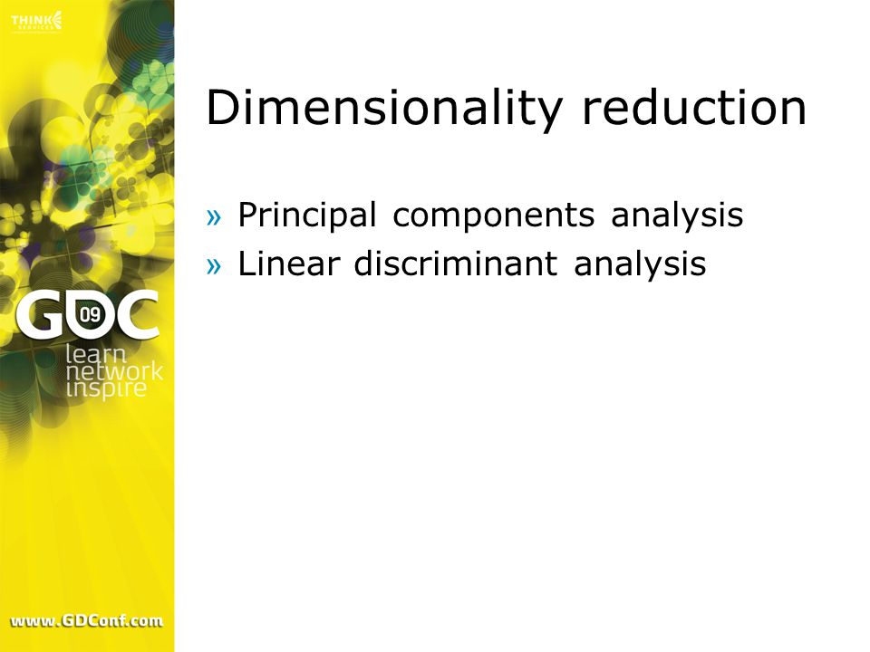 Dimensionality reduction »Principal components analysis »Linear discriminant analysis