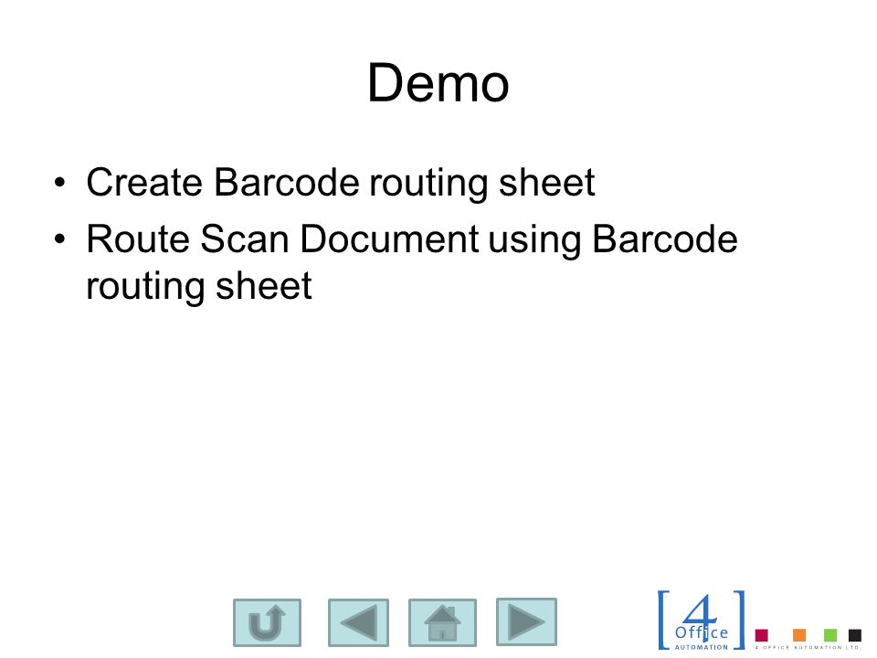 Demo Create Barcode routing sheet Route Scan Document using Barcode routing sheet