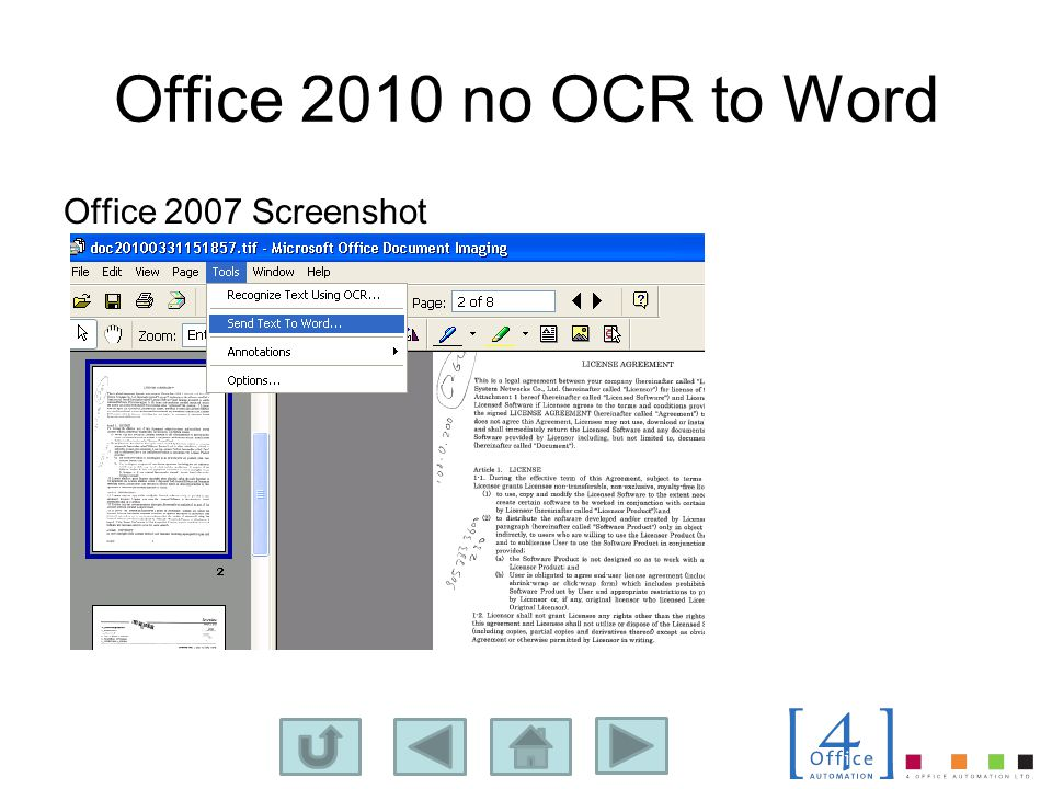 Office 2010 no OCR to Word Office 2007 Screenshot