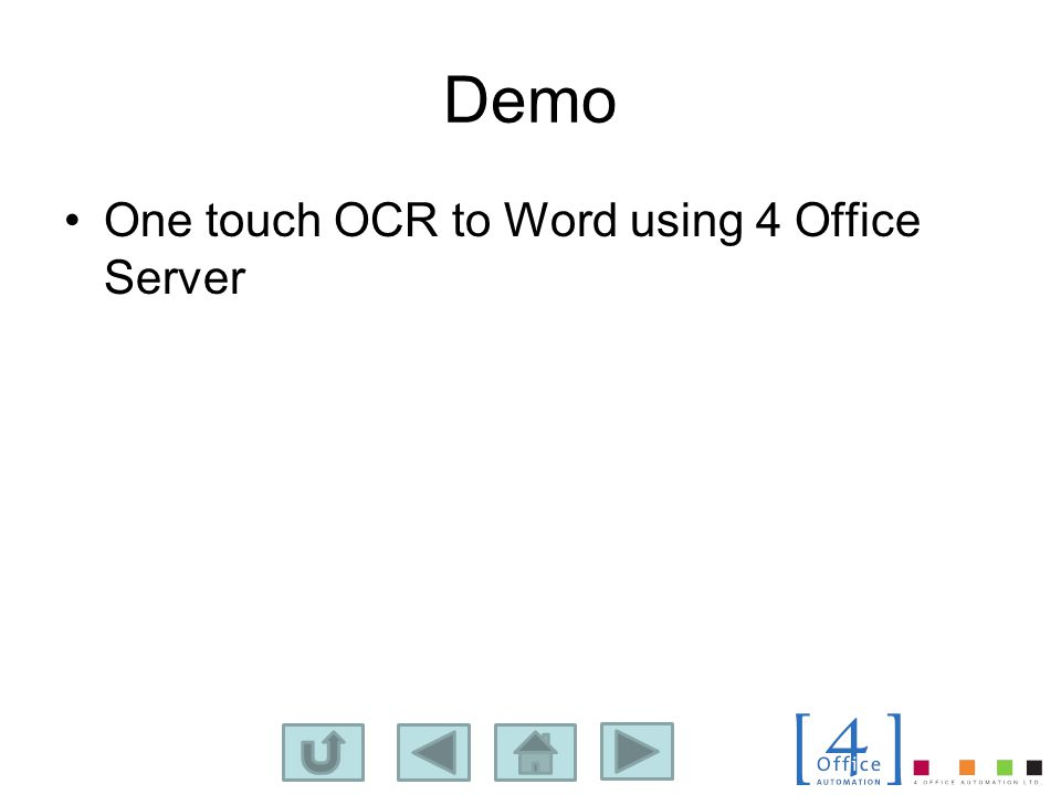 Demo One touch OCR to Word using 4 Office Server