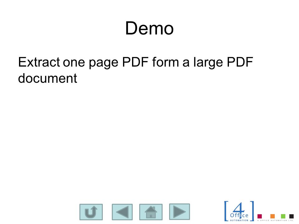 Demo Extract one page PDF form a large PDF document