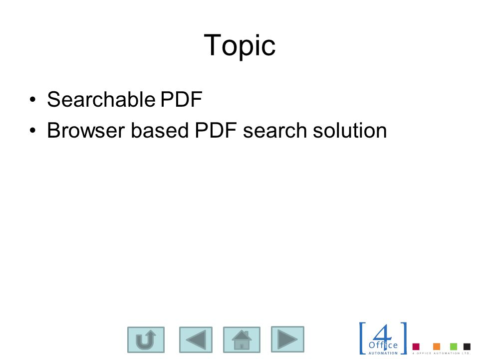 Topic Searchable PDF Browser based PDF search solution