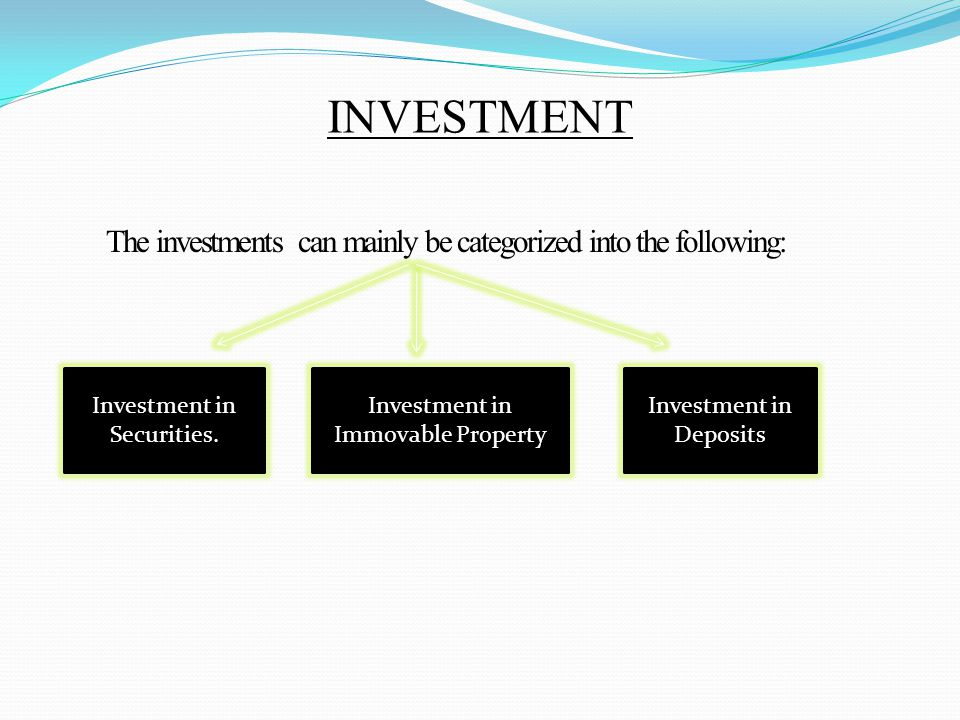 INVESTMENT The investments can mainly be categorized into the following: Investment in Securities.