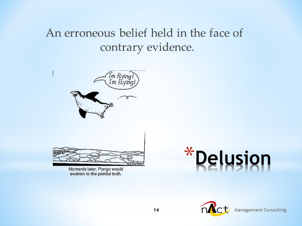 14 Management Consulting 14 An erroneous belief held in the face of contrary evidence.