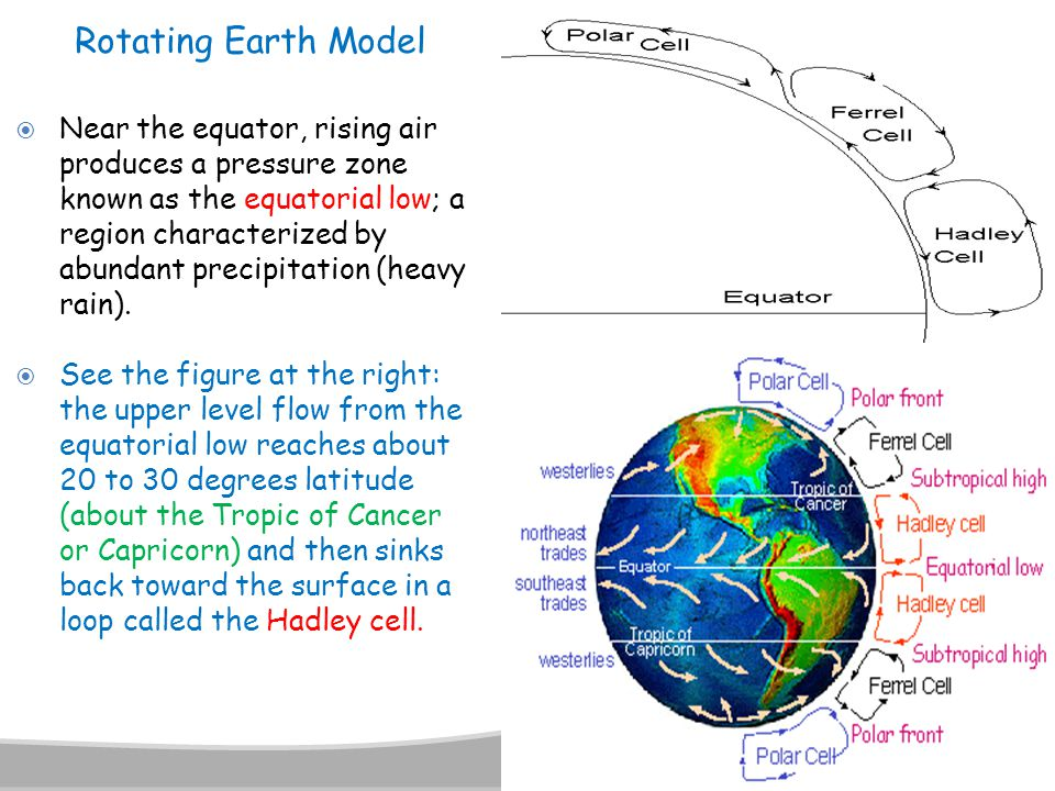  Near the equator, rising air produces a pressure zone known as the equatorial low; a region characterized by abundant precipitation (heavy rain). 