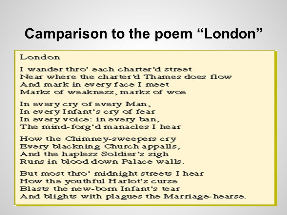 "Camparison to the poem ""London"""