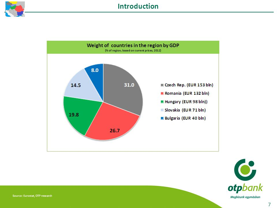 Note: NCP estimations, Extra-Regions GDP - RON 0,7 bln (0,1%) Source: Romanian National Commission of Prognosis (NCP), OTP research The structure of the GDP by development regions in bln RON and in percentage (2012) BUCHAREST-ILFOV 147,1 (25,1%) SOUTH-EAST 62,3 (10,6%) NORTH - EAST 64,0 (10,9%) NORTH - WEST 62,3 (10,6%) CENTER 67,9 (11,6%) SOUTH-MUNTENIA 73,9 (12,6%) SOUTH - WEST - OLTENIA 47,3 (8,1%) WEST 59,6 (10,2%) FDI stock and flow developments 28