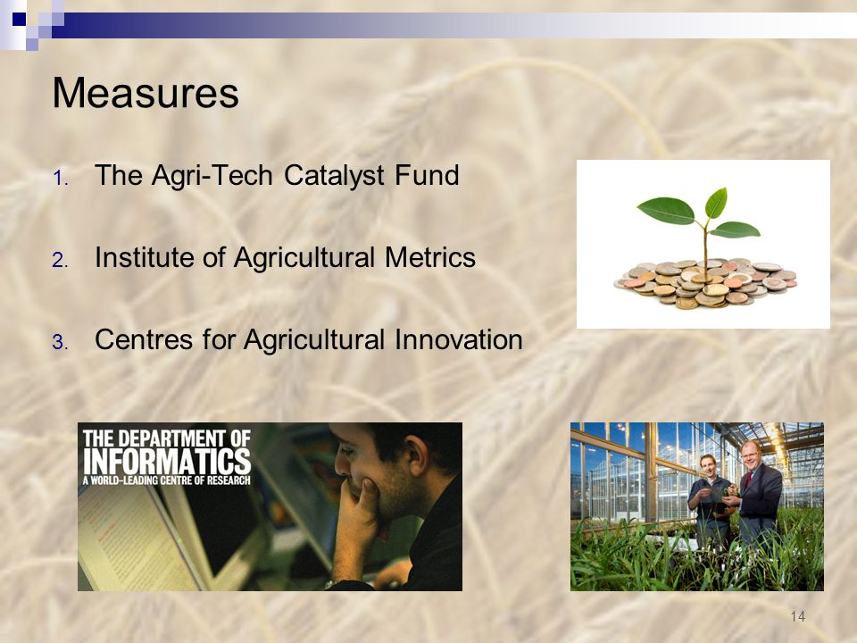 Measures 1. The Agri-Tech Catalyst Fund 2. Institute of Agricultural Metrics 3.